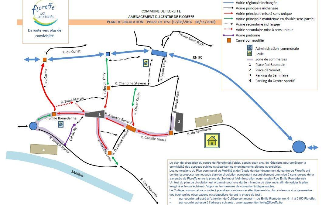 Floreffe – nouveau plan de circulation – Prolongation de la phase de test